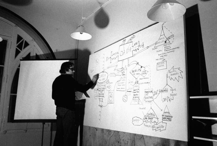 Albert Ràfols-Casamada completing the diagram on the Dadaist movement