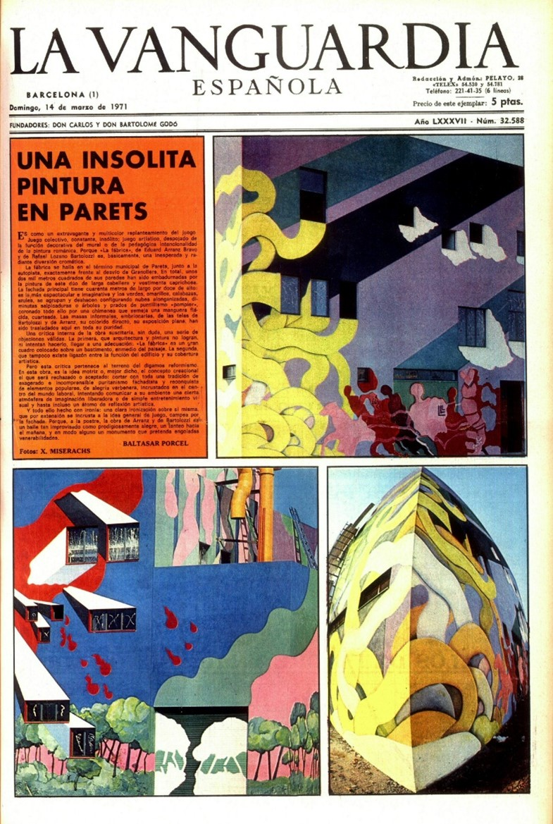 Cover of the La Vanguardia newspaper front page dedicated to the work at the Tipel factory.